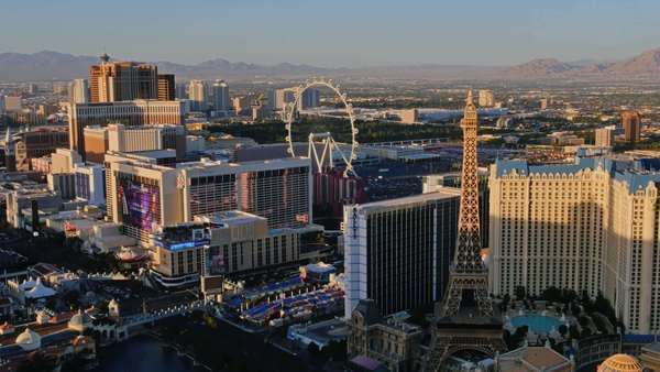 LAS VEGAS, Circa April, 2015 - An aerial time lapse view of the sun setting over the Las Vegas Strip. Royalty-free stock video