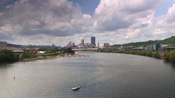 An establishing shot of the city of Pittsburgh as seen from the Hot Metal Street Bridge. Royalty-free stock video