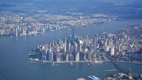 An aerial shot of lower Manhattan during the day. Royalty-free stock video