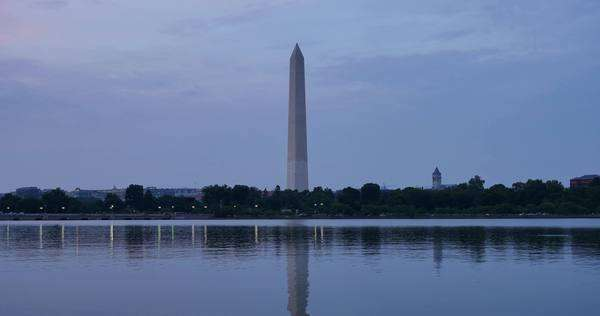 A day-to-night timelapse of the Washington Monument in Washington, D.C. Royalty-free stock video