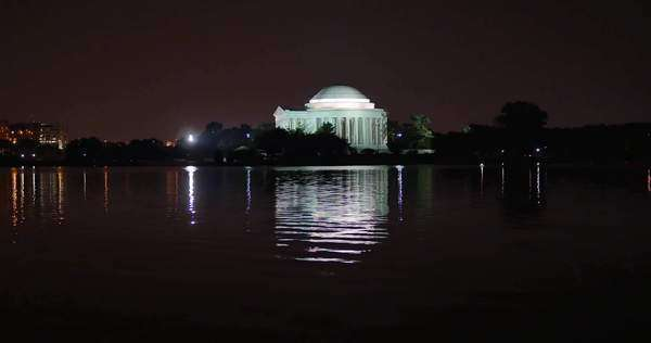 A nighttime establishing shot of the Jefferson Memorial in Washington, D.C. Royalty-free stock video