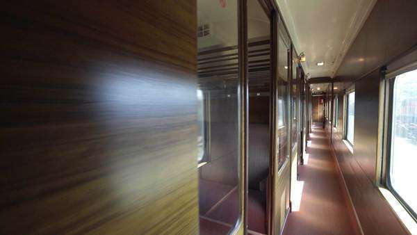 Walking inside train compartment, shot with gimbal stabilizer Royalty-free stock video