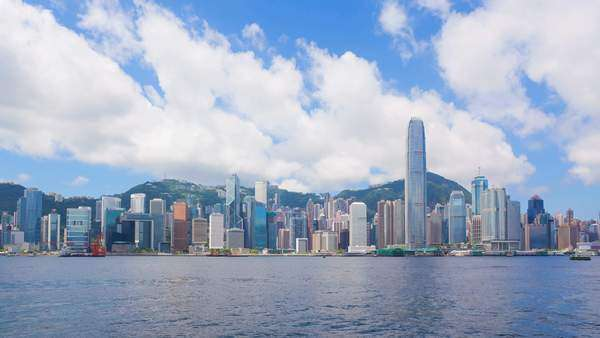 Timelapse of Victoria Harbor in Hong Kong in daytime, zooming in Royalty-free stock video