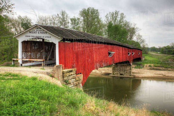 West Union Covered Bridge in Indiana Royalty-free stock photo