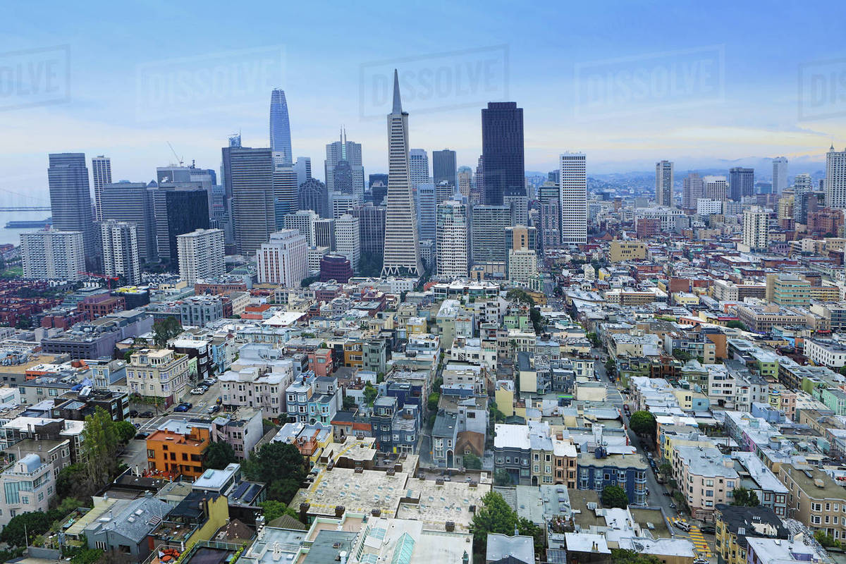 wide view of san francisco california city center stock photo