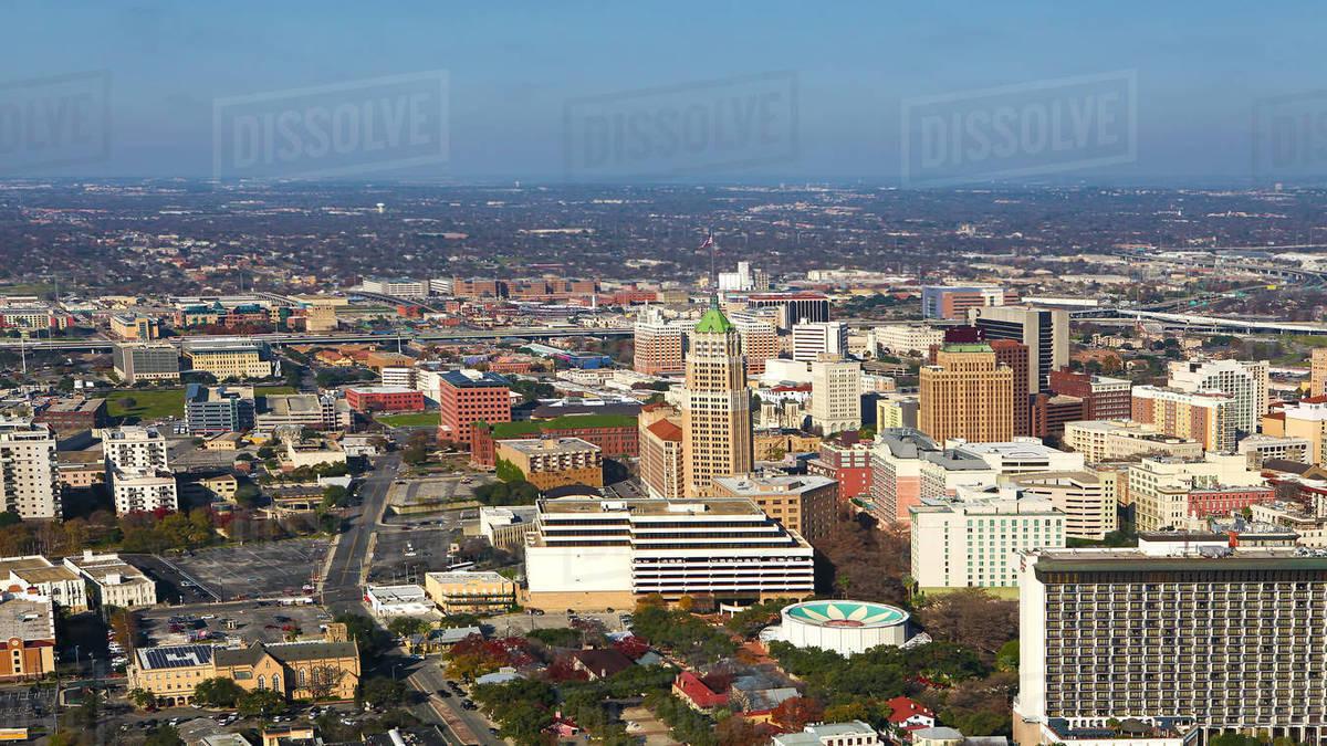 Aerial Of San Antonio Texas City Center Stock Photo