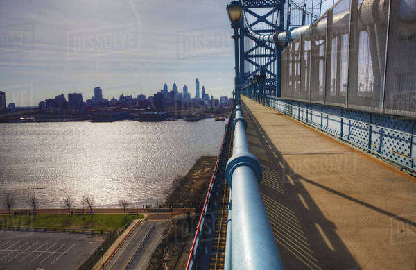 Philadelphia from the Ben Franklin Bridge Royalty-free stock photo
