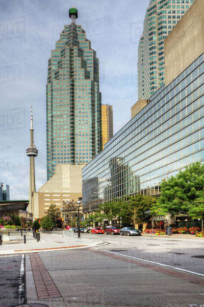 Vertical Toronto scene with CN tower in background Royalty-free stock photo