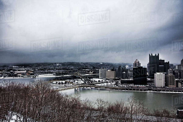 Wide view of Pittsburgh city center in snowstorm Royalty-free stock photo