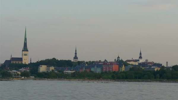 The old Tallinn view of Estonia from the sea scape view Royalty-free stock video