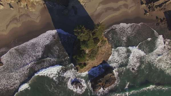 Aerial shot of Samuel H Boardman State Park along the Oregon Coast, bird's eye view, sea stack. Rights-managed stock video