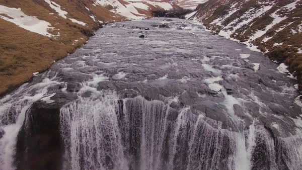 Aerial fly by over SkÛgafoss waterfall in Iceland. Rights-managed stock video