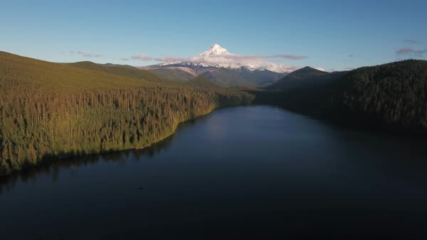 Mount Hood aerial lake Rights-managed stock video