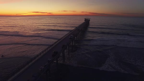 Aerial Rise, California Pier Rights-managed stock video