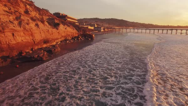 San Diego coastline, aerial sunset Rights-managed stock video