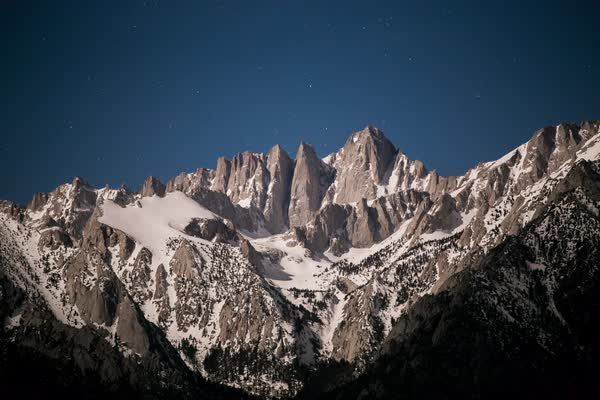 Mount whitney night time star timelapse Rights-managed stock video