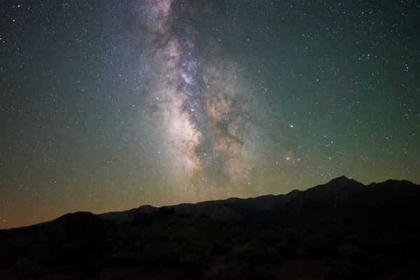 Milky Way Stars over California Tracked Timelapse Rights-managed stock video