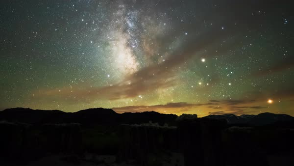 Milky Way Stars over Mono Lake California Timelapse Tracked Rights-managed stock video
