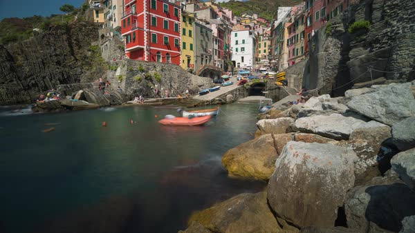 Riomaggiore, Cinque Terre Italy, beach tilt timelapse Rights-managed stock video