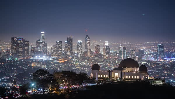 Griffith Park, Los Angeles Downtown Night Timelapse Rights-managed stock video