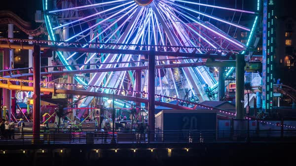 Santa Monica Pier Los Angeles, Ferris Wheel Night Timelapse Rights-managed stock video