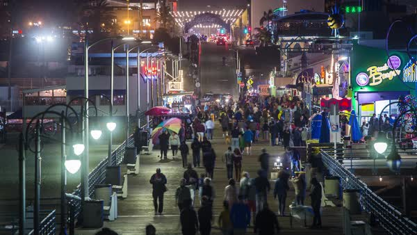 Santa Monica Pier Los Angeles, Boardwalk Night Timelapse Rights-managed stock video