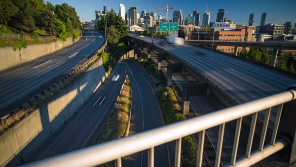 Seattle Skyline and Freeway at Sunset Motion Timelapse Rights-managed stock video