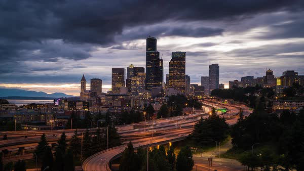 Downtown Seattle Skyline, Day to Night Timelapse Rights-managed stock video