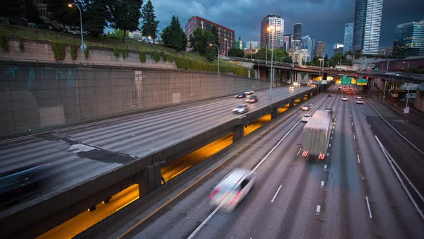 Seattle City Freeway Motion, Day to Night Timelapse Rights-managed stock video