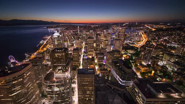 Seattle Skyline from above, sunset city Timelapse Rights-managed stock video