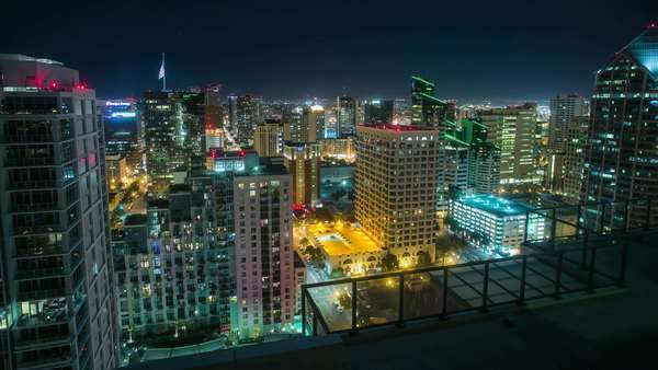 Timelapse static shot of San Diego Downtown cityscape at night. Rights-managed stock video