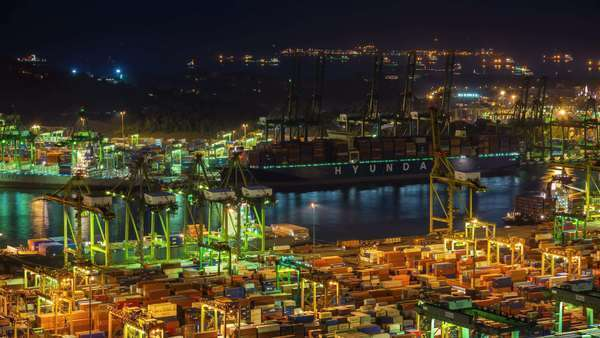 Night light Singapore port working hard timelapse Royalty-free stock video