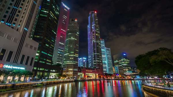 Singapore night light downtown tourist bay timelapse Royalty-free stock video