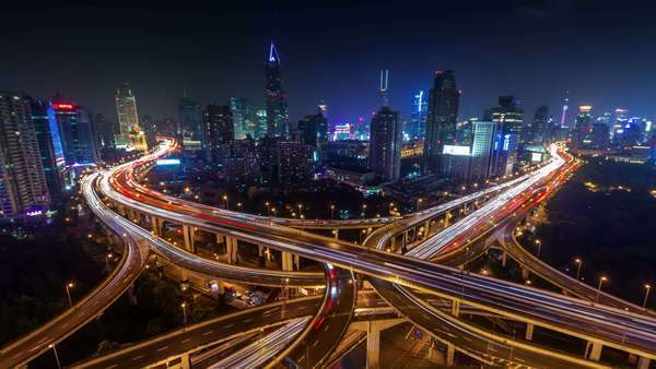 Night light traffic interchange road timelapse from Shanghai Royalty-free stock video