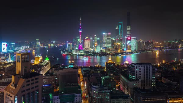 Night shanghai city roof top cityscape panorama 4k time lapse china Royalty-free stock video