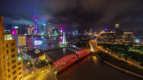 Night shanghai cityscape river bay bridge downtown view 4k time lapse china Royalty-free stock video