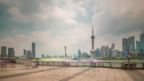 Shanghai scape day light river bay downtown panorama 4k time lapse china Royalty-free stock video