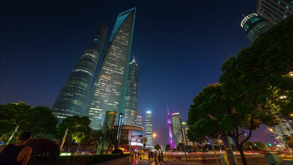 Shanghai city centre sunset walk panorama 4k time lapse china Royalty-free stock video