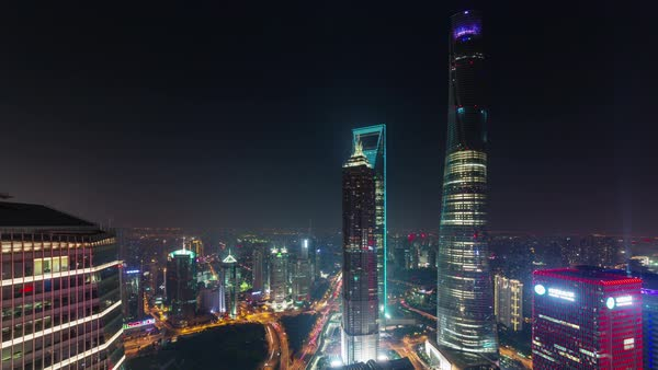 Night Cityscape Shanghai Downtown Roof Top Panorama 4k Time Lapse China Royalty Free Stock Video