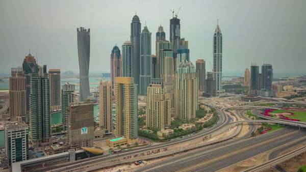 Dubai marina city morning jbr roof top Royalty-free stock video