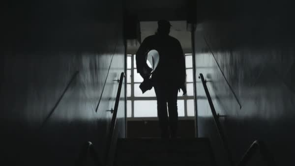 Slow motion shot of a man running up stairs Royalty-free stock video