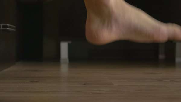 Young male feet getting out of bed Royalty-free stock video