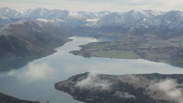 Aerial shot of a lake in the mountains Royalty-free stock video