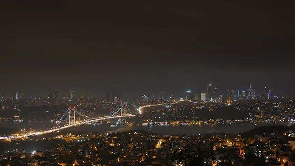 Panoramic view of Istanbul skyline: Cityscape at night, with the financial center in the background Royalty-free stock video