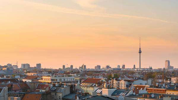 Berlin skyline timelapse at sunset day to night panning Royalty-free stock video