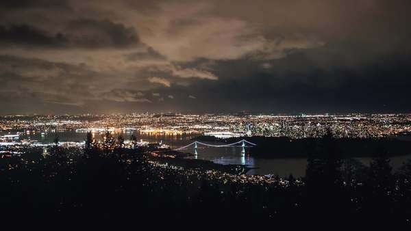 Night timelapse of Vancouver downtown view from Cypress Mountain Royalty-free stock video
