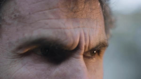 Hand-held shot of eyes of a stern man Royalty-free stock video