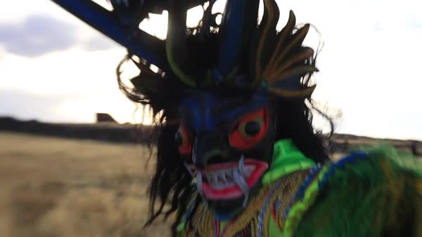 Medium shot of a Peruvian dancer in Puno Royalty-free stock video