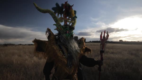 Medium shot of a Peruvian dancer standing on a meadow Royalty-free stock video