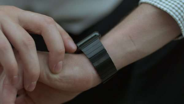 Man swipes up:down:left:right on smart watch Royalty-free stock video